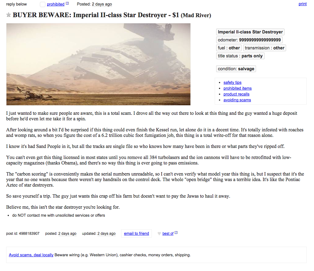 star wars, craigslist, used star detroyer