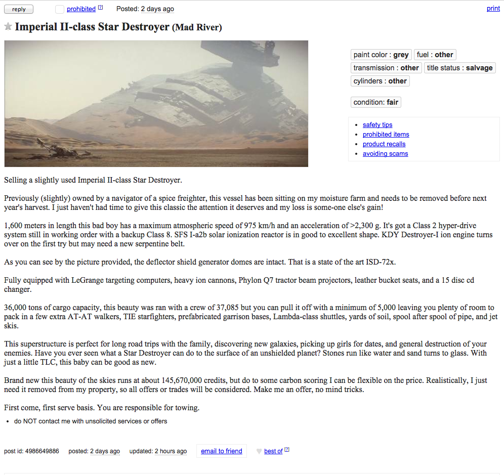 star wars, craigslist, used, star destroyer